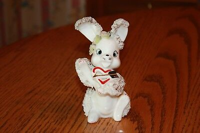 Vintage Arnart JAPAN Spaghetti Trim Bunny Rabbit Figurine with Heart / Arrow