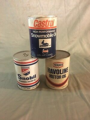 Lot Of Vintage SNOWMOBILE/MOTOR OIL CANS - Castrol, Lemans Snobil, Texaco