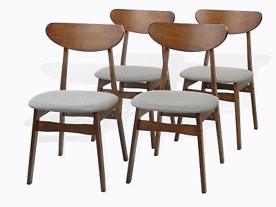 Modern Set of 4 Yumiko Dining Kitchen Side Chairs Solid Wood Medium Brown