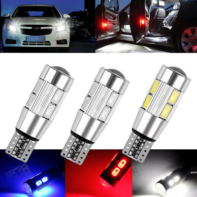 2x T10 Car Side LED Light Bulbs Canbus Error Free Xenon 10 SMD LED 501 W5W WEDGE