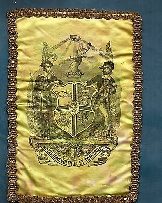 Aof 1892 Ancient Order Forresters Silk Shield Very Rare Scarce Fabric
