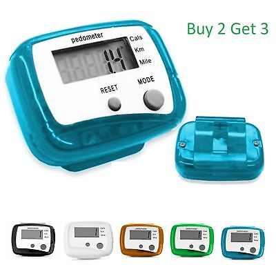 LCD Pedometer Step Walking Jogging Hiking Calorie Counter Distance Fitness +Clip
