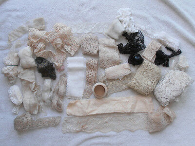 Antique Assortment Lace Trim Work Pieces for Doll Dress Craft Making