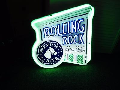 ROLLING ROCK Horse Beer Two Color Neon Sign Light up Game Room Man Cave