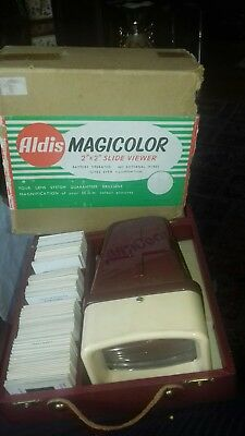 Vintage Aldis Magicolor Slide Viewer with lots of slides in  Original Box
