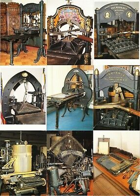 Antique Printing Press and Typesetting Letterpress Set of 9 Postcards