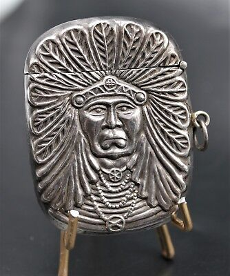 NATIVE AMERICAN Sterling Silver High Relief MATCH SAFE Box Vesta Case
