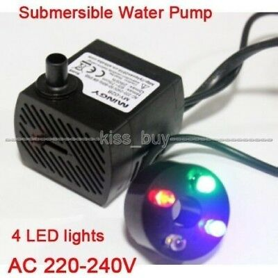 Submersible Water Pump 4 LED lights 180L/H 2.5W Aquarium Fish Tank Pond Fountain