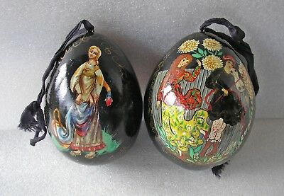2 lovely vintage black lacquered Russian eggs Dancing couple Lady with basket