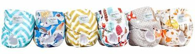 New Reusable Woodland Baby Cloth Diapers One Size Fits All Lot of 6 + Inserts