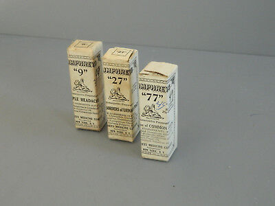 Antique Humphrey's Homeopathic Medicine No.'s 9...27...77 Never opened
