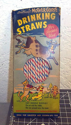 vintage sweatheart Mother Goose Drinking Straws, hey diddle diddle cow jumping