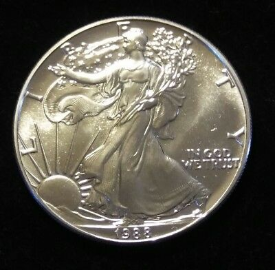 1988 Silver Eagle~ Struck Thru Obv~ Bright and Uncirculated