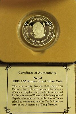 1982 250 Rupees Nepal Proof Silver Coin with Box & COA
