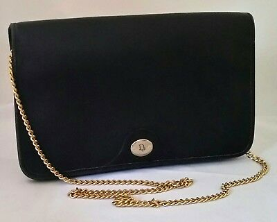6a1d27bf02 Vintage Christian Dior Black Canvas Clutch Shoulder Bag Made in France  Authentic