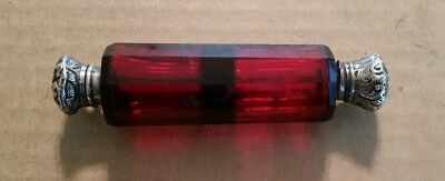 Victorian Ruby Glass Double Ended Perfume Bottle With Sterling Caps,1880's-90's
