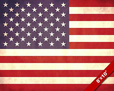 Flag Of The United States Of America USA 8x10 Real Canvas Giclee Art Print New