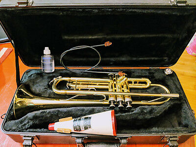 King 600 USA Trumpet sn 841038 w/ UMI 7C Mouthpiece, Case, Mute, Oils, Cleaner