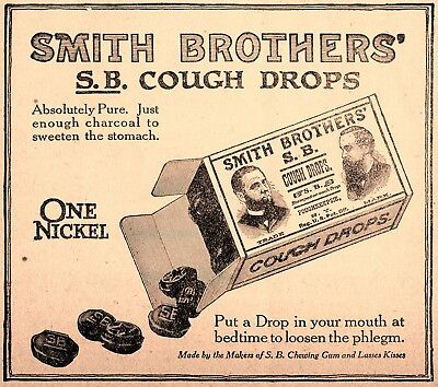 1908 Smith Brothers' Cough Drops, Poughkeepsie, New York Advertisement