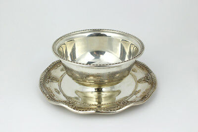 Wallace Rose Point Pattern Sterling Silver Gravy Bowl w/ Attached Saucer