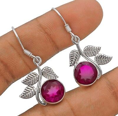 """4CT Rubellite Tourmaline 925 Solid Sterling Silver Earrings Jewelry  1 1/2"""" Long"""