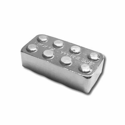 1 oz. 999 Fine Silver Building Block Bar - Connect Multiple Blocks Together- NEW