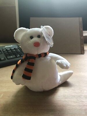 Ty Beanie Baby / Babies - Quivers the Ghost Halloween Bear - MWMT