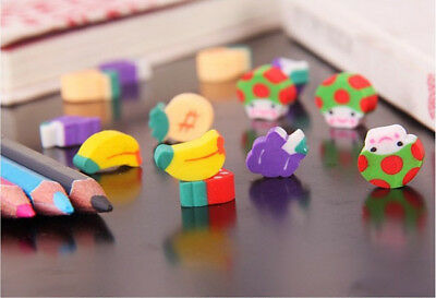 50pcs Cute Mini Fruit Rubber Eraser Pencil For Children Stationery/Gift/Toy New