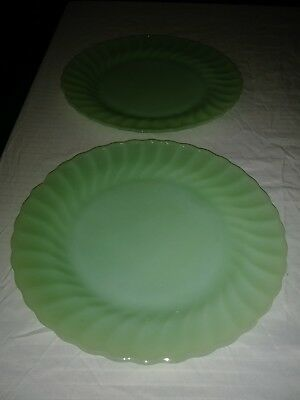 2 Fire-King Jade-ite Shell Pattern Dinner Plates 10 inch