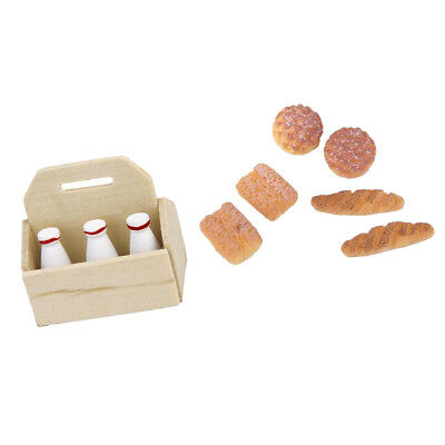 1/12 Dollhouse Miniature Kitchen Food Postre de panadería Set botellas de