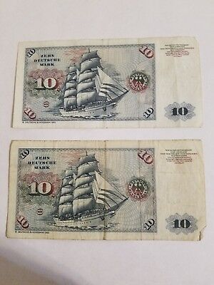 Lot of 20 Deutsche Marks Banknotes from Bank of Germany - 1980 - Circulated