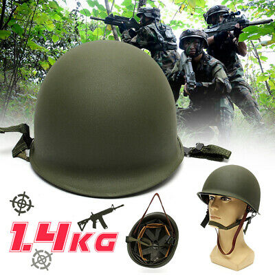 M1 Helmet WWII Steel WW2 US USA Tactical Outdoor Army Equipment Military Green
