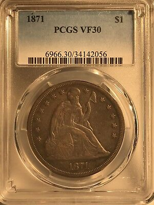 1871 $1 Seated Liberty Dollar PCGS VF30 34142056