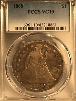 1868 $1 Seated Liberty Dollar PCGS VG10 83218861