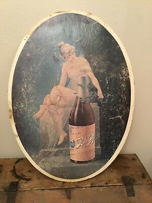 Vintage Oval Schlitz  Beer Fairy Picture Sign