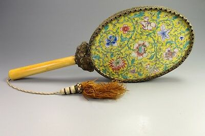 Antique Chinese Hand Mirror Floral Enamel Wire Filigree Bone Handle