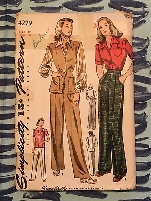 1940S Simplicity Sewing Pattern 4279 Misses High Waisted Pants, Vest, Blouse 16