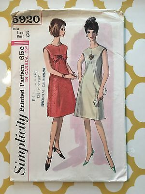 1960s Simplicity Sewing Pattern 5920 Misses Bow Front A Line Sleeveless Dress 12