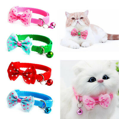 1X Pet Bowknot Necktie Collar Cute Bow Tie Bell Kitten Puppy Adjustable Dog Cat