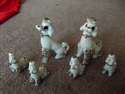 Lot of vintage Porcelain Spaghetti figurines French poodles dog white/gold japan