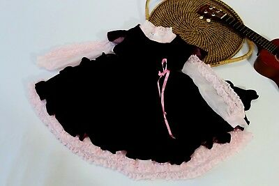 Vintage Martha's Miniatures We're Fussy Pink Pinafore  Dress Fancy Lace Ruffles