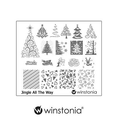 Winstonia Nail Art Stamping Image Plate Disc JINGLE ALL THE WAY Christmas Winter