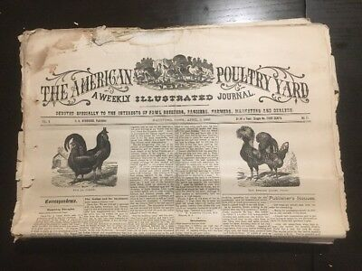 1886 AMERICAN POULTRY YARD Farming Newspaper Lot 40 ISSUES Never Bound CHICKENS