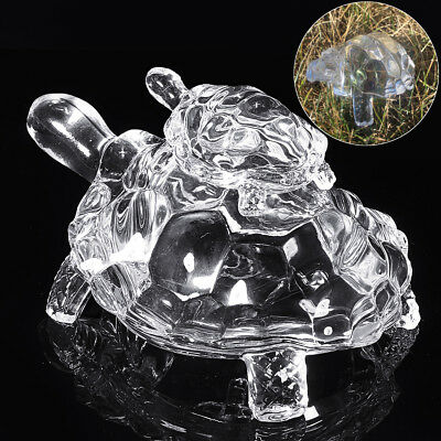 Feng Shui Crystal Glass Clear Sea Turtle Figurine Art Mascot Tortoises Gift AU