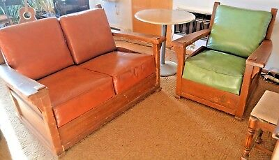 RARE FIND Love Seat, Chair: Mission/arts & crafts/monterey/stickley style.