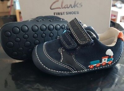 Bnib Cute Baby Boy Blue Leather First Shoes, Size 2.5 F Infant, By Clarks >>>
