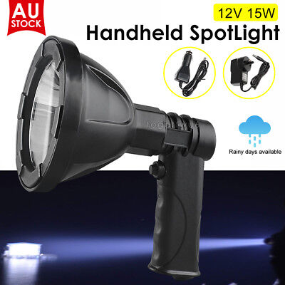 15W CREE Handheld Spot Light Rechargeable LED Spotlight Hunting Shooting 12V AU