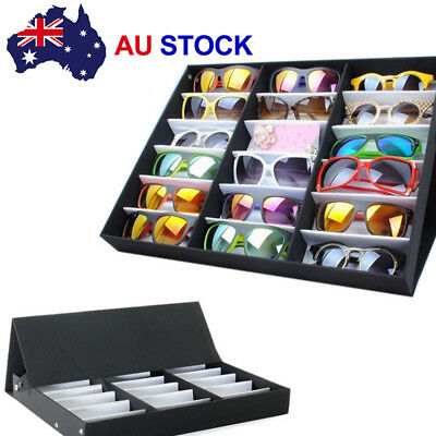 18 Slots Sunglasses Display Counter Stand Storage Rack Cabinet Organizer Tray AU