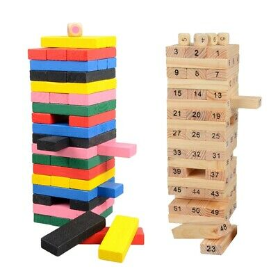Wooden Toppling Tumbling Stacking Tower Board Games Building Blocks for Kids