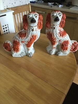 A pair of large Staffordshire spaniels